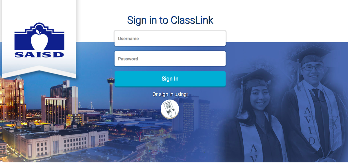 This picture is a link to the SAISD ClassLink page.   SAISD.  Sign in to ClassLink.